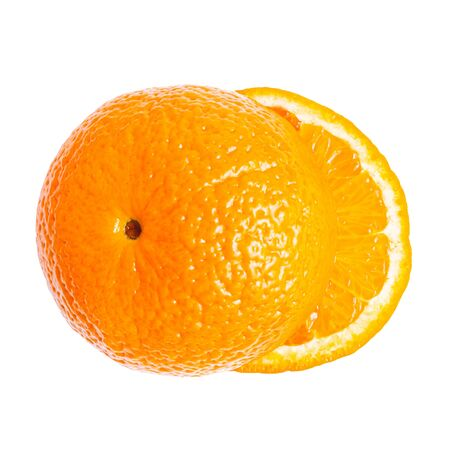 Cut orange fruit, sliced round halves of citrus isolated on white background, top view, flat lay.