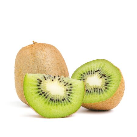 Sliced halves and whole kiwi fruit isolated on white background. Reklamní fotografie