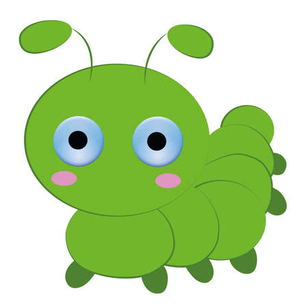 squirm: Cute caterpillar cartoon on white background.