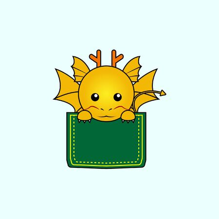 Illustration of cute dragon design in a pocket. perfect for shirt designs