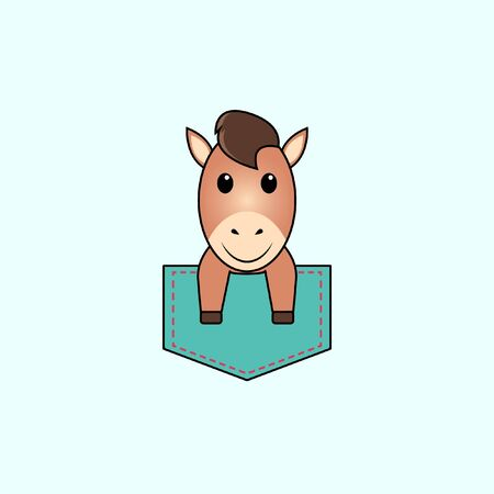 Illustration of cute horse design in a pocket. perfect for shirt designs