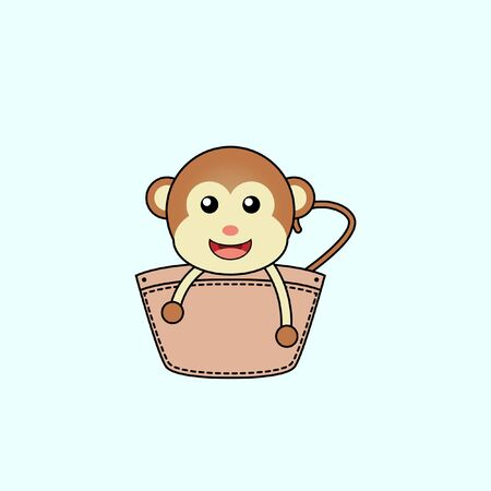 Illustration of cute monkey design in a pocket. perfect for shirt designs