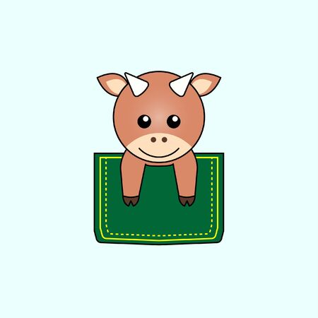 Illustration of cute ox design in a pocket. perfect for shirt designs