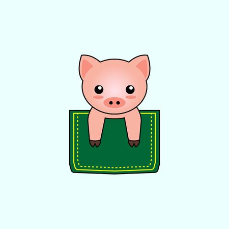 Illustration of cute pig design in a pocket. perfect for shirt designs
