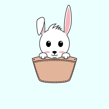 Illustration of cute rabbit design in a pocket. perfect for shirt designs