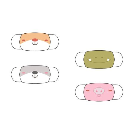 Face masks with cute animal face motifs. Set of designs o reusable mouth kids funny masks with cute animal face motif in vector