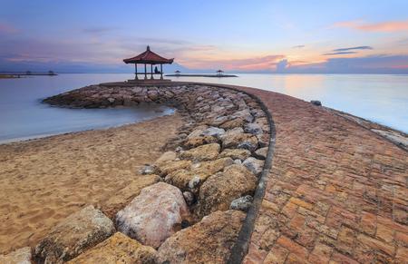 Karang strand Sanur, Bali, Indonesië in de ochtend Stockfoto