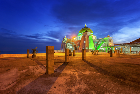 Malacca Straits Mosque ( Masjid Selat Melaka), It is a mosque located on the man-made Malacca Island near Malacca Town, Malaysia.