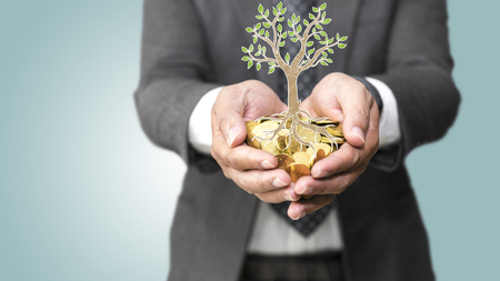 Hands holding a illustration tree growing of coins / csr green business / business ethics / good governance Banque d'images - 95432119