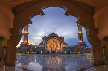 KUALA LUMPUR, MALAYSIA - August 8, 2016: Scenery Federal Territory Mosque or Masjid Wilayah in the blue hour at 8 August 2016.