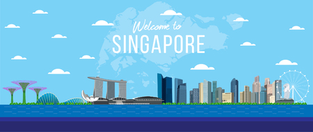 Singapore and flag Vector Illustration design.