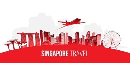 Concepto de viaje de Singapur. ilustración vectorial. Ilustración de vector