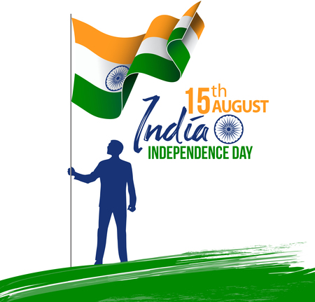 illustration of Abstract tricolor Indian flag with white background for Happy Independence Day of India