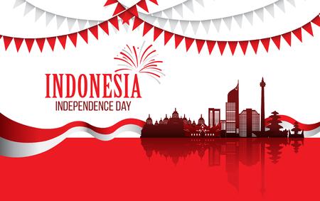 Vector red color Flat design, Illustration of flag, indonesia landmark for banner. Indonesia Independence Day concept.