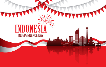 Vector red color Flat design, Illustration of flag, indonesia landmark for banner. Indonesia Independence Day concept.