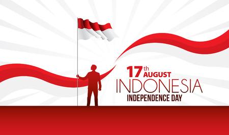 Vectorillustratie van een viering van de onafhankelijkheidsdag van Indonesië.