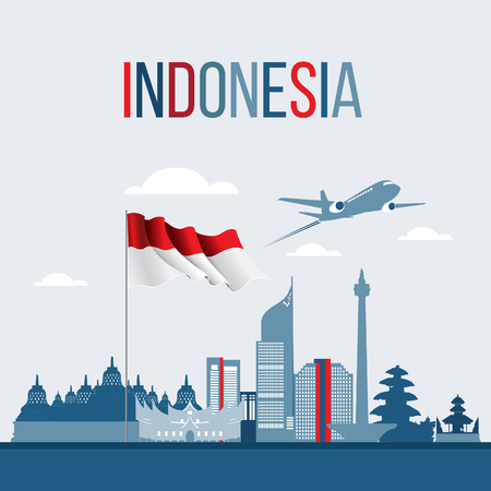 Vector Flat design, Illustration of Indonesia Icons, and landmarks. Travel concept.