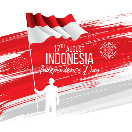Vector red color design Illustration of flag. 17th August Indonesia Independence Day concept. Illustration
