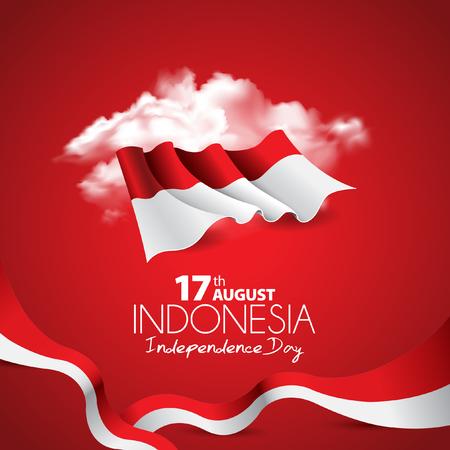 Diseño plano del color rojo del vector, Ilustración de la bandera. 17 de agosto concepto de día de la independencia de Indonesia.