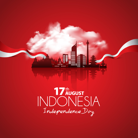 Vector red color Flat design, Illustration of flag and Indonesia. 17th August Indonesia Independence Day concept. 免版税图像 - 105629002