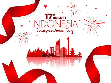 17 de agosto. Tarjeta de felicitación feliz día de la independencia de Indonesia. Ondeando la cinta / banderas de Indonesia aisladas sobre fondo blanco. Ilustración de Vector de fondo simbólico patriótico