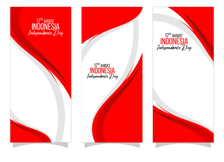 Vector red color Flat design, Illustration of flag for banner. 17th August Indonesia Independence Day concept. Ilustração