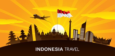 Vector color Flat design, Illustration of Indonesia Icons and landmarks Illustration