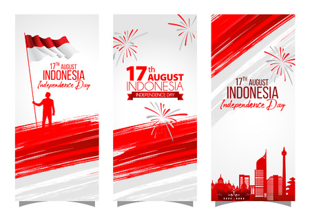 Vector red color Flat design, Illustration of flag for banner. 17th August Indonesia Independence Day concept. Stock Illustratie