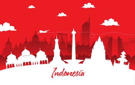 red color Flat design, Illustration of Indonesia Icons, and landmarks. Travel concept.