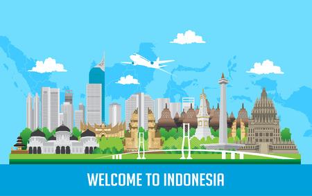 colore Design piatto, illustrazione delle icone e dei punti di riferimento dell'Indonesia
