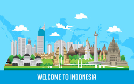 Diseño plano en color, Ilustración de iconos y puntos de referencia de Indonesia