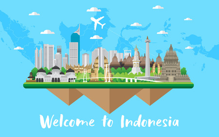 color Flat design, Illustration of Indonesia Icons and landmarks 向量圖像