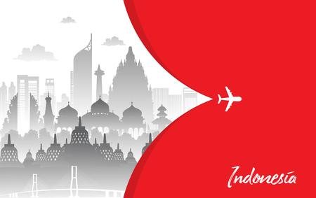 Diseño plano de color rojo, Ilustración de iconos de Indonesia y puntos de referencia. Concepto de viaje.