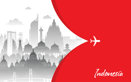 red color Flat design, Illustration of Indonesia Icons, and landmarks. Travel concept. 免版税图像 - 119181803