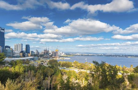 skyline of Perth with city central business district with beautiful sky blue.