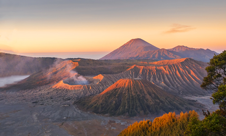 Sunrise at Mount Bromo volcano, the magnificent view of Mt. Bromo located in Bromo Tengger Semeru National Park, East Java, Indonesia
