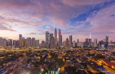 City of Kuala Lumpur, Malaysia with ariel view at sunrise