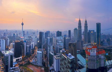 City of Kuala Lumpur, Malaysia with ariel view at sunset 新闻类图片