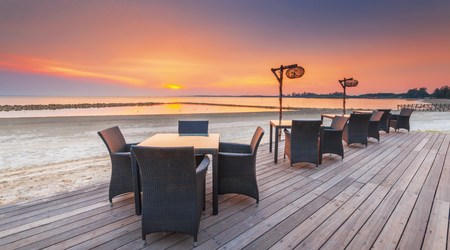 Restaurant on a beach with Stunning beautiful sunset.