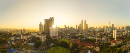 City of Kuala Lumpur, Malaysia with ariel view and harsh sunlight 新聞圖片