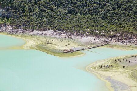Kawah Putih crater lake, Bandung Indonesia. Taken from Sunan Ibu, Rancabali Ciwidey West Java Indonesia.