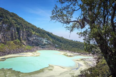 Kawah Putih crater lake , Bandung Indonesia. Taken from Sunan Ibu, Rancabali Ciwidey West Java Indonesia. Stock fotó