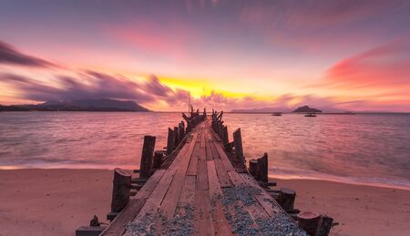 Old Jetty at Black Sand Beach in Langkawi Island, Kedah, Malaysia.