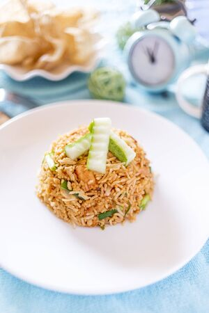 A plate of delicious home cooked fried rice which is popular in Malaysia, Indonesia, Thailand and Singapore 版權商用圖片