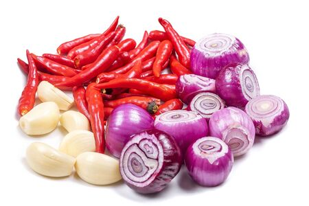 Shallots (Red Onion), chilli and Garlics are popular ingredients in cooking on the white background isolated 免版税图像 - 133026407