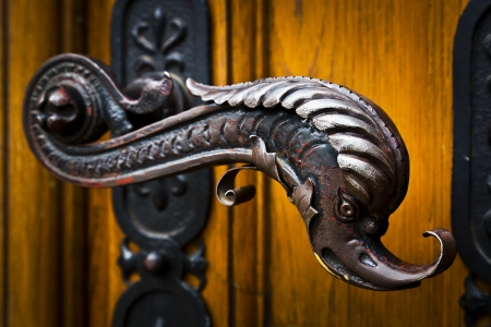 Decorative antique door handles with fish pattern on a big chatedral photo