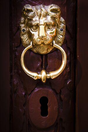 doorknocker: Decorative lion head knocker on a wooden door