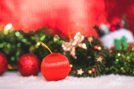 Christmas decorations with red abstract background Stock Photo