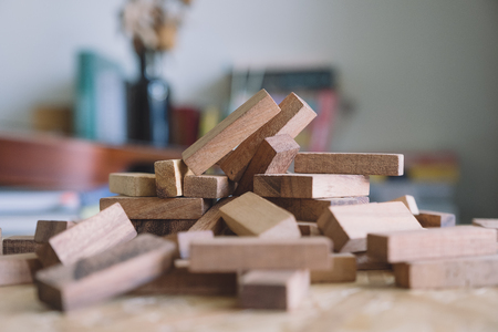 Closeup image of wooden blocks of Tumble tower game