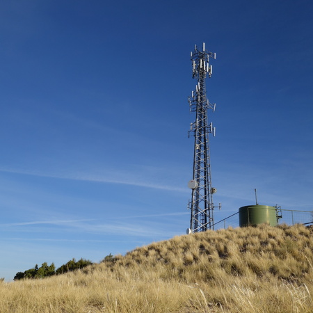 Microwave cellphone town on top of a mountain